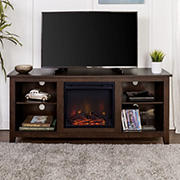 "W. Trends 58"" Rustic Fireplace TV Stand for Most TV's up to 65"" - Brown"