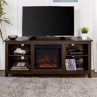 "W. Trends 58"" Wood Fireplace TV Stand Console - Brown"