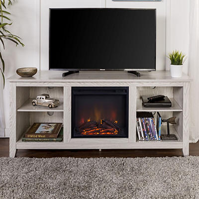 "W. Trends 58"" Wood Fireplace TV Stand Console - White"