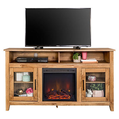 "W. Trends Audrey 58"" Tall Fireplace TV Stand for TVs Up to 65"" - Barnwood"