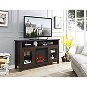 "W. Trends 58"" Transitional Glass Door Fireplace Tall TV Stand for Most TV's up to 65"" - Brown"