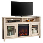 "W. Trends 58"" Transitional Glass Door Fireplace Tall TV Stand for Most TV's up to 65"" - White Oak"