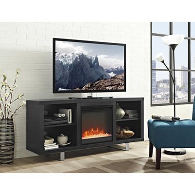 "W. Trends Simple Modern 58"" Fireplace TV Console - Black"