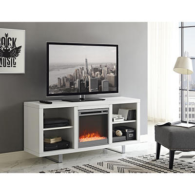 "W. Trends Simple Modern 58"" Fireplace TV Console - White"