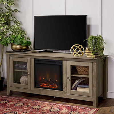 "W. Trends 58"" Wood Media TV Stand Console with Fireplace - Driftwood"