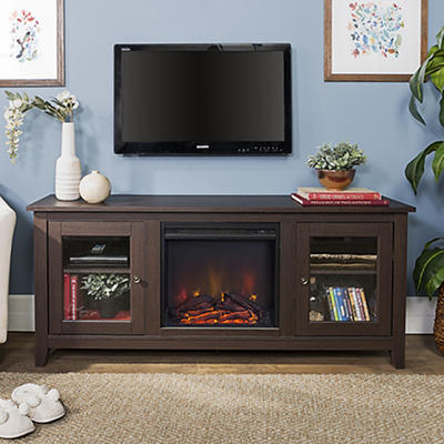 "W. Trends 58"" Wood Media TV Stand Console with Fireplace - Espresso"