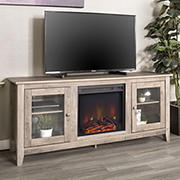 "W. Trends 58"" Traditional Glass Door Fireplace TV Stand for Most TV's up to 65"" - Grey Wash"