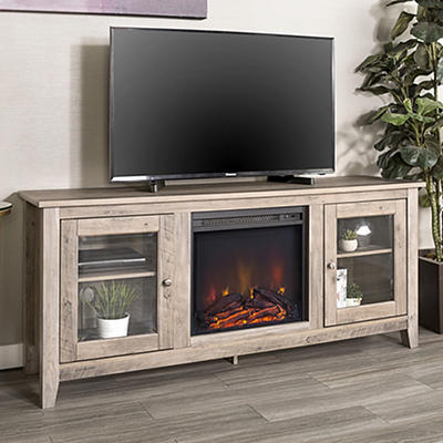 "W. Trends 58"" Wood Media TV Stand Console with Fireplace - Gray Wash"