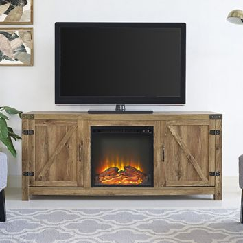 W Trends 58 Barn Door Fireplace Tv Stand Barnwood Bjs