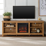 "W. Trends 70"" Rustic Open Storage Fireplace TV Stand or TVs up to 80"" - Barnwood"