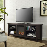 "W. Trends 70"" Rustic Open Storage Fireplace TV Stand or TVs up to 80"" - Espresso"
