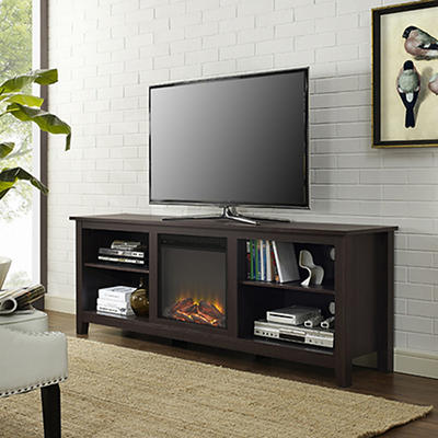 "W. Trends 70"" Wood Media TV Stand Console with Fireplace - Espresso"