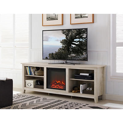 "W. Trends 70"" Wood Media TV Stand Console with Fireplace - White Oak"