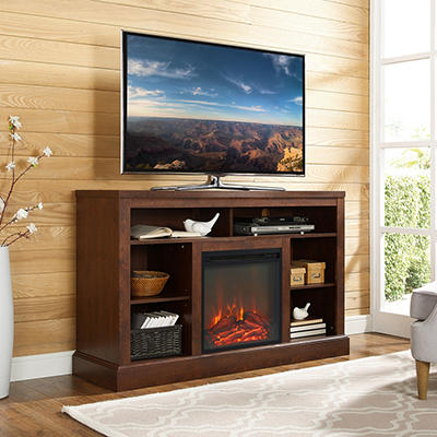 "W. Trends 52"" Fireplace TV Console with Open Storage - Traditional Bro"