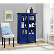 Ameriwood Home Aaron Lane Bookcase with Sliding Glass Doors - Blue
