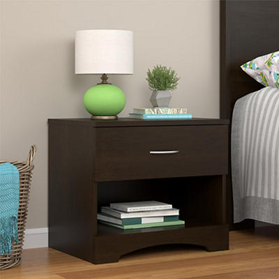 Ameriwood Home Crescent Point 1-Drawer Nightstand - Espresso