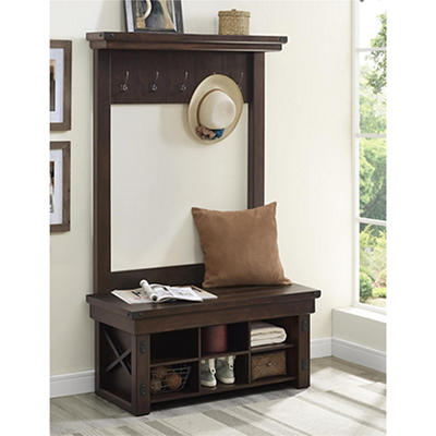 Ameriwood Home Wildwood Wood Veneer Entryway Hall Tree with Storage Be