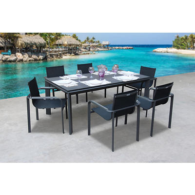 Bellini Home and Gardens 7-Pc. Diagonal Outdoor Dining Set - Gray