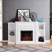 SEI Chambord Bookcase Electric Fireplace - White