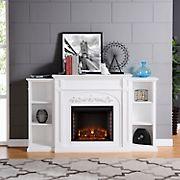 SEI Chambord Bookcase Electric Fireplace - White
