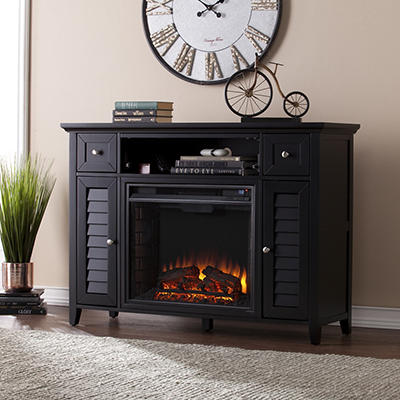 "SEI Florence 46"" 3-in-1 Media Fireplace Console - Black"