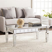 SEI Gin Glam Mirrored Cocktail Table - Matte Silver