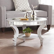 SEI Laxer Glam Mirrored Round Cocktail Table - Silver