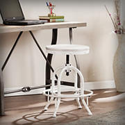 SEI Hurel Industrial Adjustable-Height Stool - White