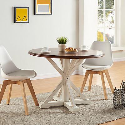 "SEI Berto 41"" Pedestal Farmhouse Dining Table - Antique White/Dark Tob"