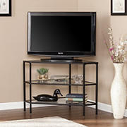 SEI Nelly Metal/Glass Corner TV Stand - Matte Black