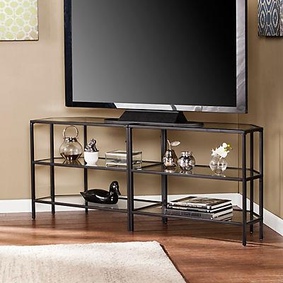 "SEI Dylon 60"" Metal/Glass TV Stand - Matte Black"