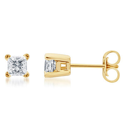 .25 ct. t.w. Princess-Cut Diamond Stud Earrings in 14k Yellow Gold