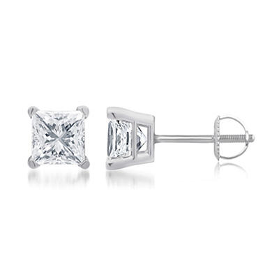 .50 ct. t.w. Princess-Cut Diamond Stud Earrings in 14k White Gold