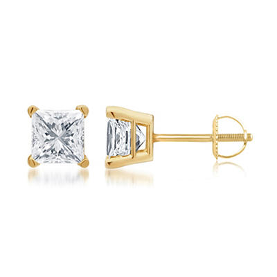 .50 ct. t.w. Princess-Cut Diamond Stud Earrings in 14k Yellow Gold