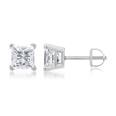 .75 ct. t.w. Princess-Cut Diamond Stud Earrings in 14k White Gold