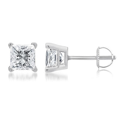 1.50 ct. t.w. Princess-Cut Diamond Stud Earrings in 14k White Gold