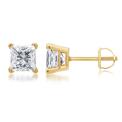 1.50 ct. t.w. Princess-Cut Diamond Stud Earrings in 14k Yellow Gold