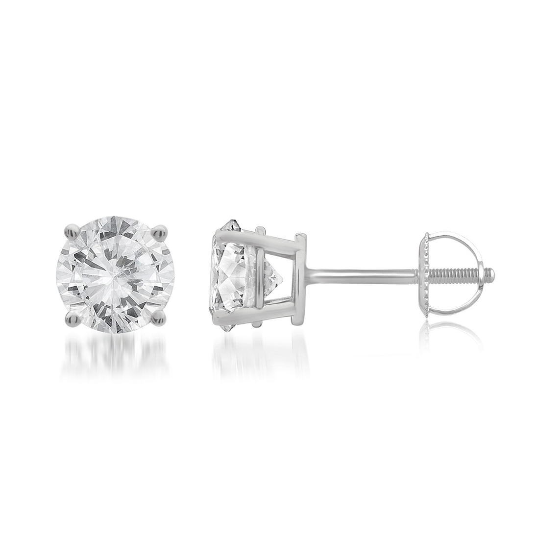 75 Ct T W Round Cut Diamond Stud Earrings In 14k White Gold