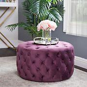 Abbyson Living Lilley Tufted Round Velvet Ottoman - Purple