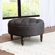 Abbyson Living Ezra Round Flip-Top Tufted Ottoman - Gray