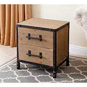 Abbyson Living Wright Industrial 2-Drawer Nightstand