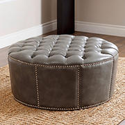 Abbyson Living Portwood Leather Nailhead Trim Round Ottoman - Gray