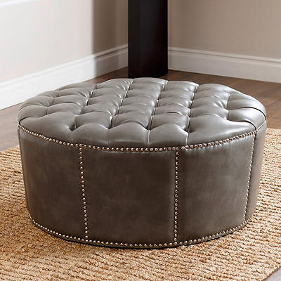 Abbyson Living Portwood Leather Nailhead Trim Round Ottoman - Gray