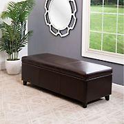 Abbyson Living Greenwood Leather Storage Ottoman - Dark Brown