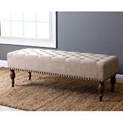 Abbyson Living Clarissa Linen Ottoman Bench - Wheat
