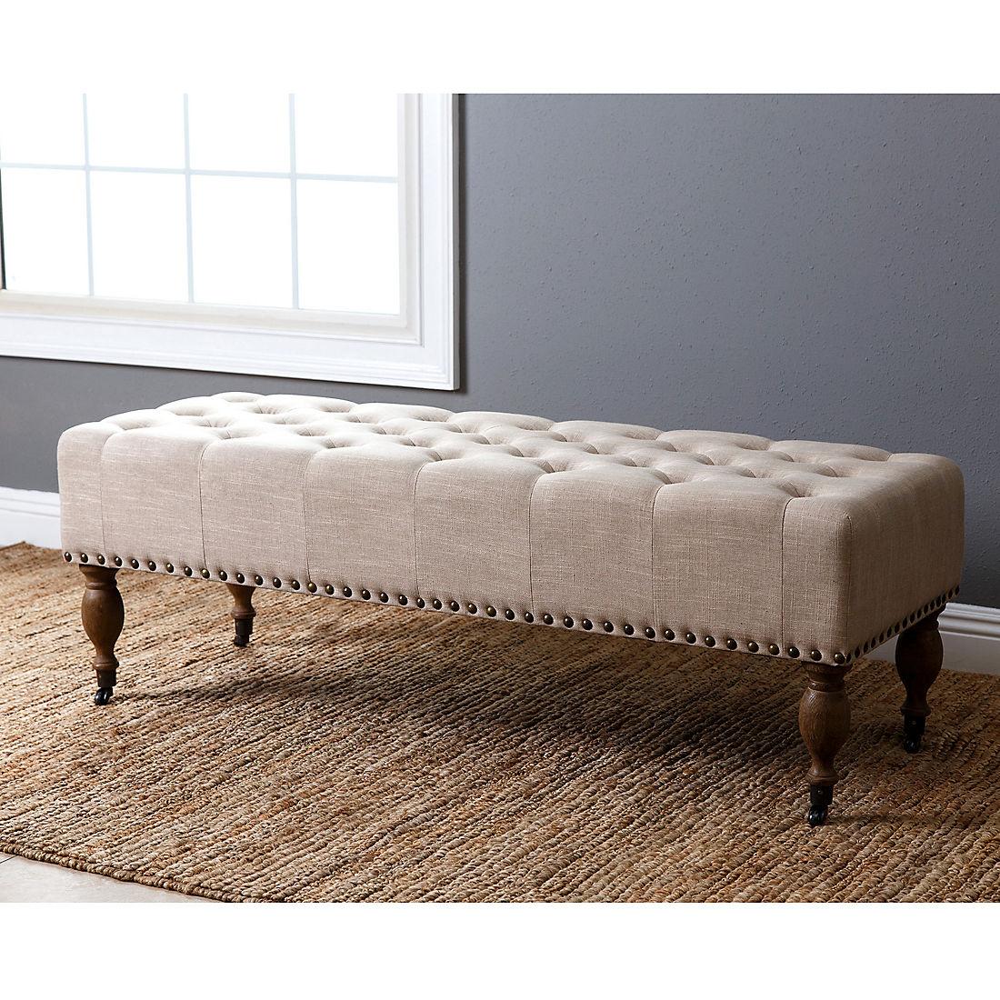 Fabulous Abbyson Living Clarissa Linen Ottoman Bench Wheat Uwap Interior Chair Design Uwaporg