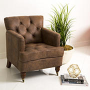 Abbyson Living Sherwood Fabric Club Chair - Antique Brown