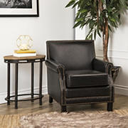 Abbyson Living Skye Antique Leather Club Chair - Black