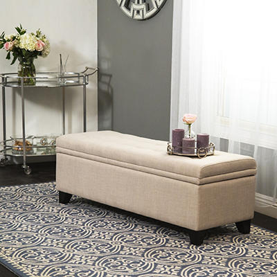 Abbyson Living Greenwood Linen Tufted Double Storage Ottoman - Wheat