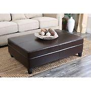 Abbyson Living Greenwood Leather Storage Flip-Top Ottoman - Dark Brown